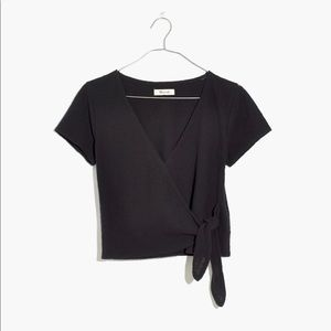 Madewell Black Texture & Thread Wrap Blouse